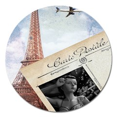 French Postcard Vintage Paris Eiffel Tower Magnet 5  (Round)
