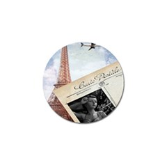 French Postcard Vintage Paris Eiffel Tower Golf Ball Marker