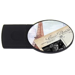 French Postcard Vintage Paris Eiffel Tower 1GB USB Flash Drive (Oval)