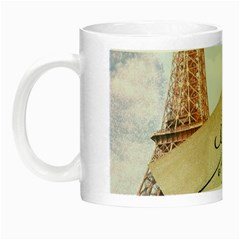 French Postcard Vintage Paris Eiffel Tower Glow in the Dark Mug