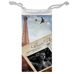 French Postcard Vintage Paris Eiffel Tower Jewelry Bag