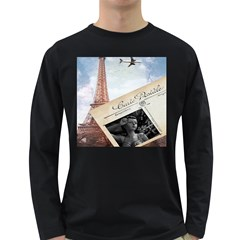 French Postcard Vintage Paris Eiffel Tower Mens' Long Sleeve T Shirt (dark Colored)