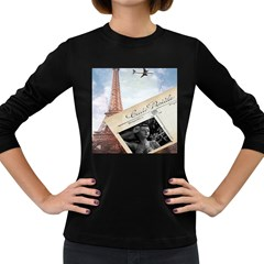 French Postcard Vintage Paris Eiffel Tower Womens' Long Sleeve T-shirt (Dark Colored)