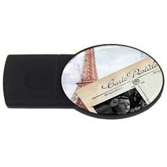 French Postcard Vintage Paris Eiffel Tower 4gb Usb Flash Drive (oval)