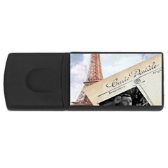 French Postcard Vintage Paris Eiffel Tower 4GB USB Flash Drive (Rectangle)