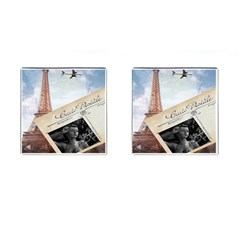 French Postcard Vintage Paris Eiffel Tower Cufflinks (Square)