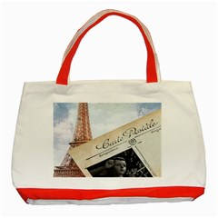 French Postcard Vintage Paris Eiffel Tower Classic Tote Bag (red)