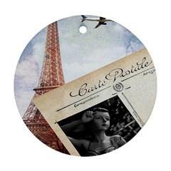 French Postcard Vintage Paris Eiffel Tower Round Ornament (two Sides)