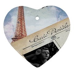 French Postcard Vintage Paris Eiffel Tower Heart Ornament (Two Sides)