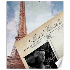 French Postcard Vintage Paris Eiffel Tower Canvas 8  x 10  (Unframed)
