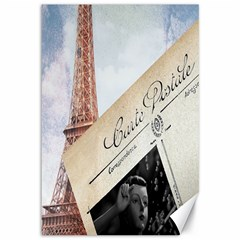 French Postcard Vintage Paris Eiffel Tower Canvas 12  x 18  (Unframed)