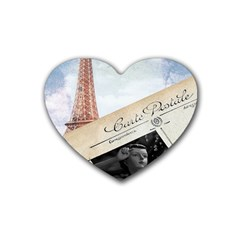 French Postcard Vintage Paris Eiffel Tower Drink Coasters 4 Pack (heart)