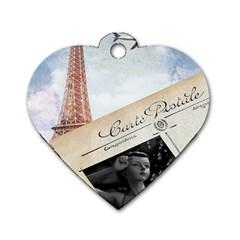 French Postcard Vintage Paris Eiffel Tower Dog Tag Heart (Two Sided)