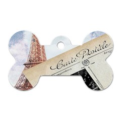 French Postcard Vintage Paris Eiffel Tower Dog Tag Bone (One Sided)