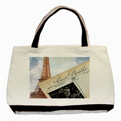 French Postcard Vintage Paris Eiffel Tower Twin-sided Black Tote Bag