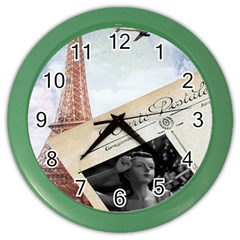 French Postcard Vintage Paris Eiffel Tower Wall Clock (Color)