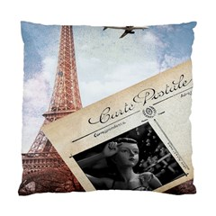 French Postcard Vintage Paris Eiffel Tower Cushion Case (Single Sided)