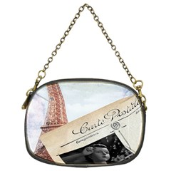 French Postcard Vintage Paris Eiffel Tower Chain Purse (Two Sided)