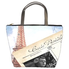 French Postcard Vintage Paris Eiffel Tower Bucket Bag