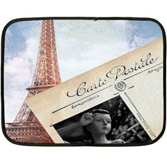 French Postcard Vintage Paris Eiffel Tower Mini Fleece Blanket (Two Sided)