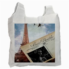 French Postcard Vintage Paris Eiffel Tower Recycle Bag (Two Sides)
