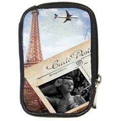 French Postcard Vintage Paris Eiffel Tower Compact Camera Leather Case