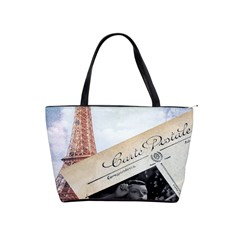 French Postcard Vintage Paris Eiffel Tower Large Shoulder Bag