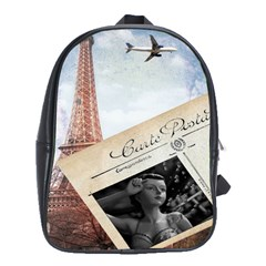 French Postcard Vintage Paris Eiffel Tower School Bag (Large)