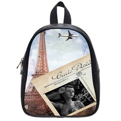 French Postcard Vintage Paris Eiffel Tower School Bag (Small)
