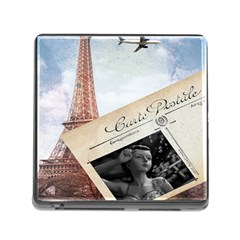 French Postcard Vintage Paris Eiffel Tower Memory Card Reader with Storage (Square)