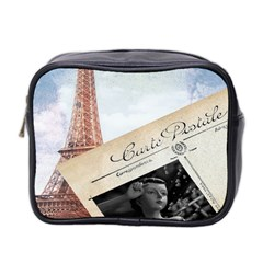 French Postcard Vintage Paris Eiffel Tower Mini Travel Toiletry Bag (Two Sides)