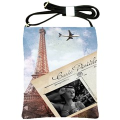 French Postcard Vintage Paris Eiffel Tower Shoulder Sling Bag