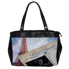 French Postcard Vintage Paris Eiffel Tower Oversize Office Handbag (One Side)