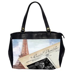 French Postcard Vintage Paris Eiffel Tower Oversize Office Handbag (two Sides)
