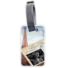 French Postcard Vintage Paris Eiffel Tower Luggage Tag (two Sides)