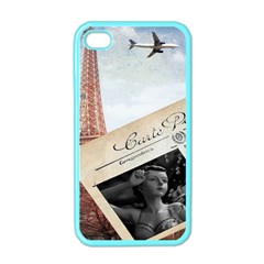French Postcard Vintage Paris Eiffel Tower Apple Iphone 4 Case (color)