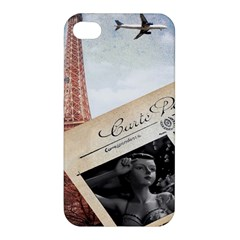 French Postcard Vintage Paris Eiffel Tower Apple Iphone 4/4s Hardshell Case