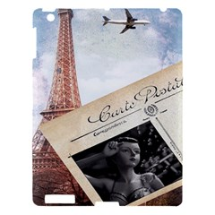 French Postcard Vintage Paris Eiffel Tower Apple Ipad 3/4 Hardshell Case