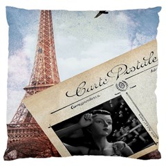 French Postcard Vintage Paris Eiffel Tower Large Cushion Case (Two Sided)