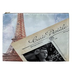 French Postcard Vintage Paris Eiffel Tower Cosmetic Bag (XXL)