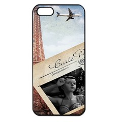 French Postcard Vintage Paris Eiffel Tower Apple iPhone 5 Seamless Case (Black)
