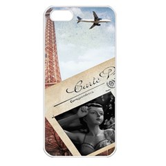 French Postcard Vintage Paris Eiffel Tower Apple iPhone 5 Seamless Case (White)