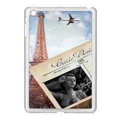 French Postcard Vintage Paris Eiffel Tower Apple iPad Mini Case (White)