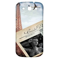 French Postcard Vintage Paris Eiffel Tower Samsung Galaxy S3 S Iii Classic Hardshell Back Case