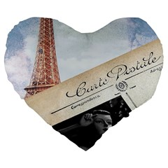 French Postcard Vintage Paris Eiffel Tower 19  Premium Heart Shape Cushion