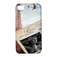 French Postcard Vintage Paris Eiffel Tower Apple iPhone 4/4S Hardshell Case with Stand