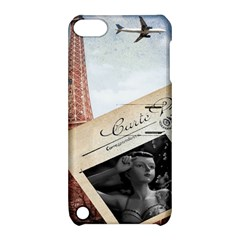 French Postcard Vintage Paris Eiffel Tower Apple iPod Touch 5 Hardshell Case with Stand