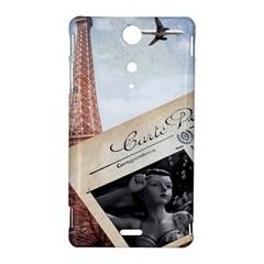 French Postcard Vintage Paris Eiffel Tower Sony Xperia TX Hardshell Case