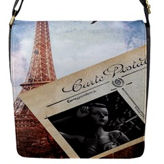 French Postcard Vintage Paris Eiffel Tower Flap Closure Messenger Bag (small)