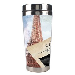 French Postcard Vintage Paris Eiffel Tower Stainless Steel Travel Tumbler